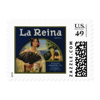 La Reina Orange Crate Label Postage Stamp