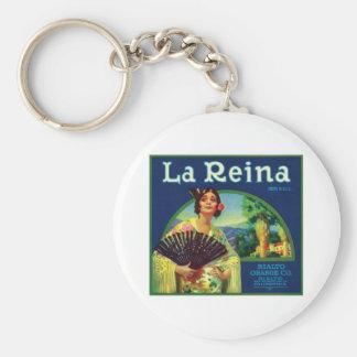 La Reina Orange Vintage Label Basic Round Button Keychain