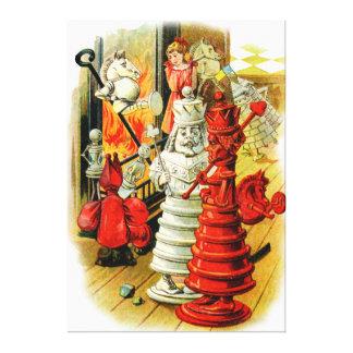 La reina roja y el rey blanco en el país de las ma lienzo envuelto para galerias