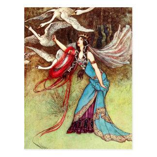 La reina traviesa y seis cisnes tarjeta postal