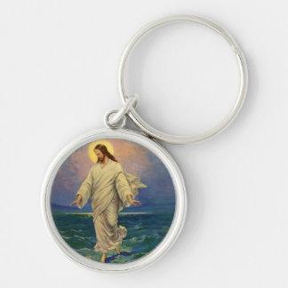 La religión del vintage, Jesucristo está caminando Llavero Redondo Plateado