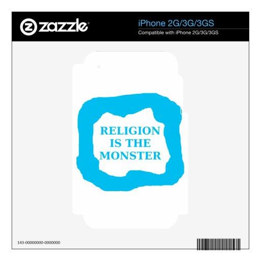 La religión es el monstruo 2 .PNG iPhone 3 Calcomanía