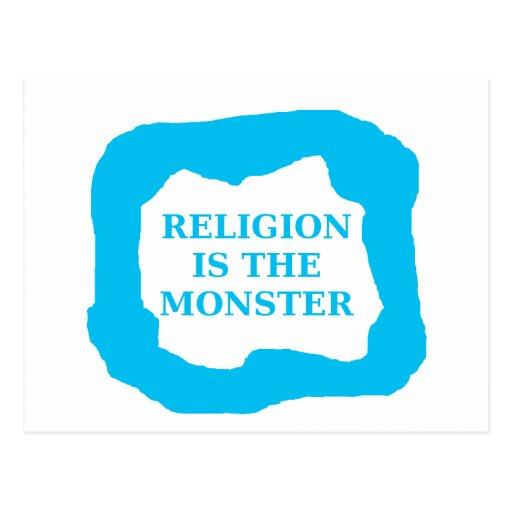 La religión es el monstruo 2 .PNG Postal