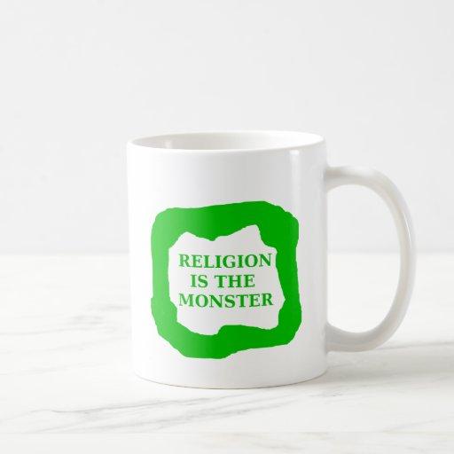 La religión es el monstruo, .png verde tazas