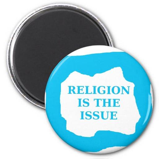 La religión es el problema, .png azul imán redondo 5 cm