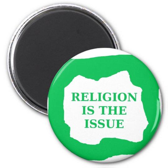 La religión es el problema, .png verde imán redondo 5 cm