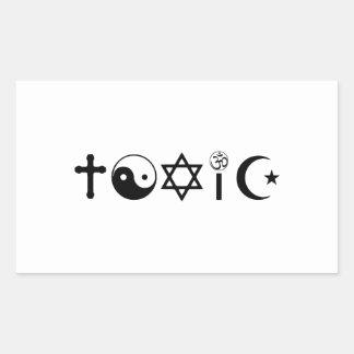 La religión es librepensador tóxico rectangular pegatina