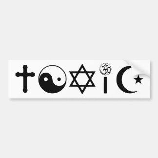 La religión es librepensador tóxico pegatina para auto