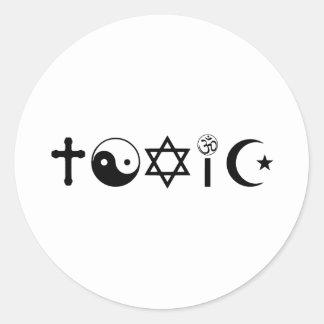 La religión es librepensador tóxico pegatina redonda