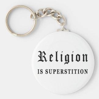 La religión es superstición llavero redondo tipo pin