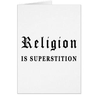 La religión es superstición tarjeta de felicitación
