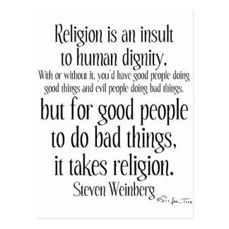 La religión es un insulto tarjetas postales