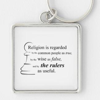 La religión es útil llavero cuadrado plateado
