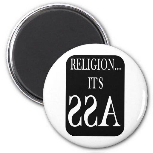 la religión está al revés imán de frigorifico