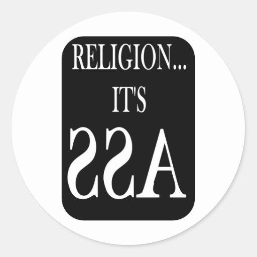 la religión está al revés pegatina redonda