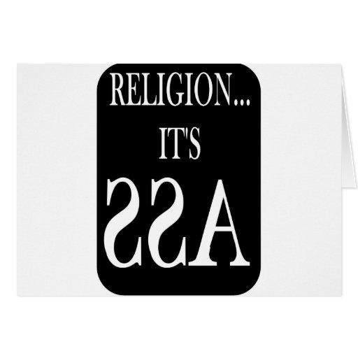 la religión está al revés tarjeta de felicitación