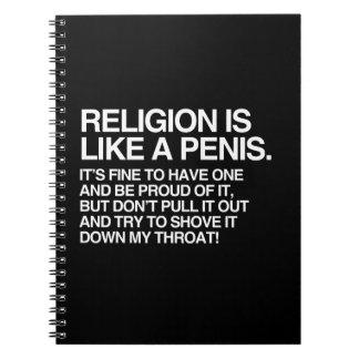 LA RELIGIÓN ESTÁ COMO LIBROS DE APUNTES CON ESPIRAL
