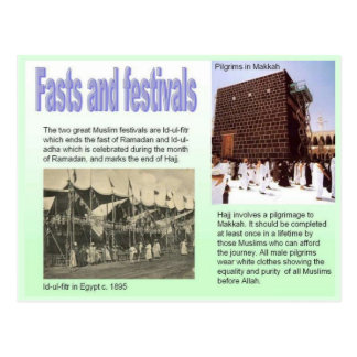 La religión, Islam, ayuna y los festivales Postales