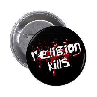La religión mata al botón pins