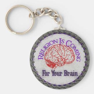 La religión quiere su cerebro llavero redondo tipo pin
