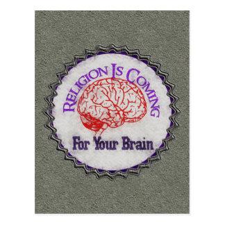 La religión quiere su cerebro tarjetas postales