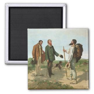 La Rencontre, or Bonjour Monsieur Courbet, 1854 2 Inch Square Magnet
