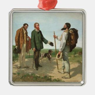 La Rencontre, or Bonjour Monsieur Courbet, 1854 Square Metal Christmas Ornament