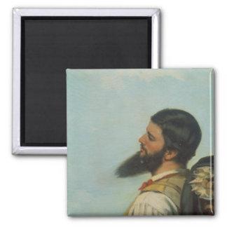 La Rencontre ou Bonjour M.Courbet, 2 Inch Square Magnet
