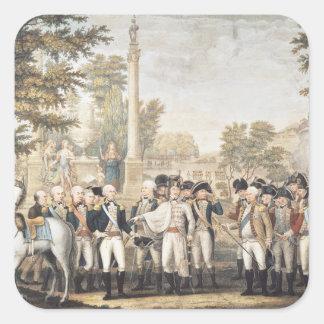 La rendición británica a general Washington Pegatina Cuadrada