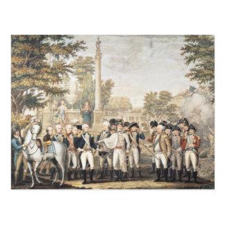 La rendición británica a general Washington Tarjeta Postal