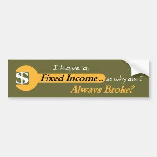 La renta fija rompió siempre a la pegatina para el etiqueta de parachoque