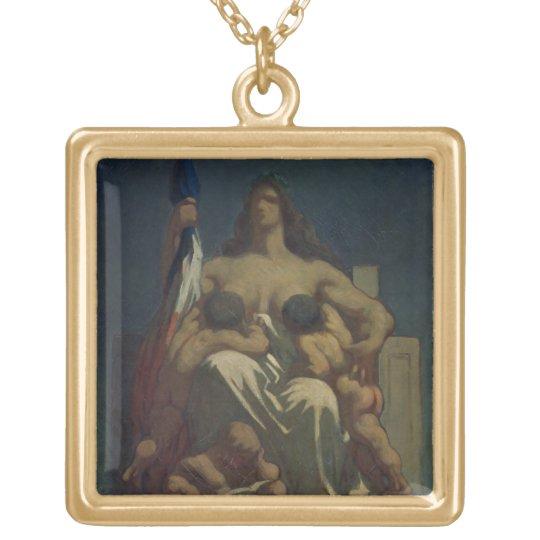 La república, 1848 (aceite en lona) collar dorado