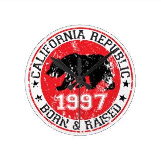 la república de California llevada aumentó 1997 Reloj De Pared