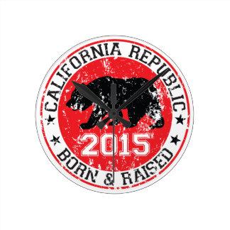 la república de California llevada aumentó 2015 Relojes De Pared