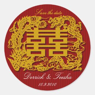 La reserva china del boda la fecha/le agradece pegatina redonda