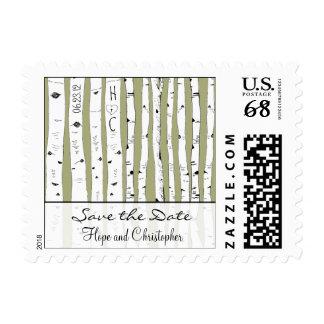La reserva del árbol de abedul la fecha elige el sello postal