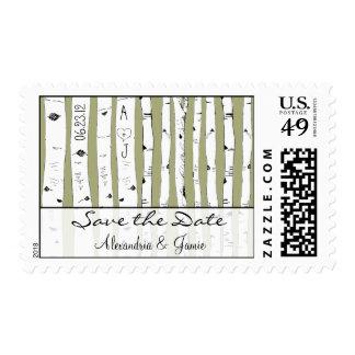 La reserva del árbol de abedul la fecha elige timbres postales