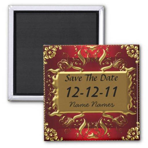 La reserva del rojo del oro la fecha crea su propi imán de nevera