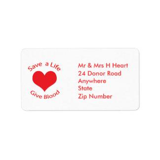 La reserva roja del corazón a la vida da etiquetas etiquetas de dirección