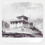 La residencia de la fuga Glassa-too Calcomanía Cuadradase