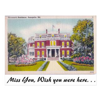 La residencia del gobernador, Annapolis, Maryland Postales