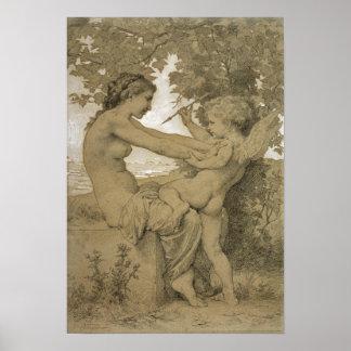 La resistencia del amor por Bouguereau Póster