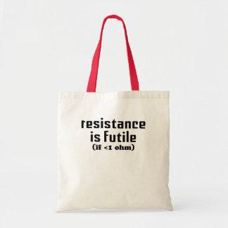 La resistencia es tote vano bolsas de mano