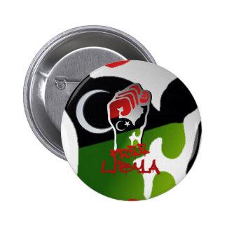 La resistencia libre de Libia aumentó el puño - li Pin Redondo De 2 Pulgadas