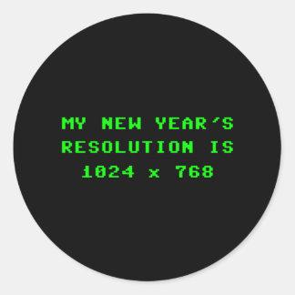 La resolución de pantalla 1024x768 del Año Nuevo Pegatina Redonda