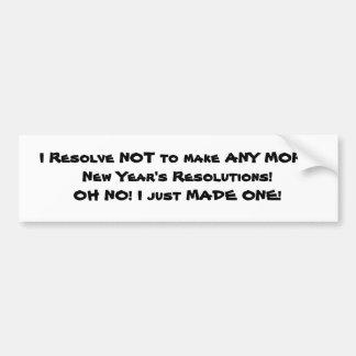 La resolución del Año Nuevo Etiqueta De Parachoque