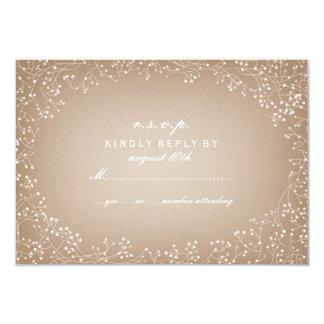 """La respiración RSVP inspirado de papel de tarjetas Invitación 3.5"""" X 5"""""""