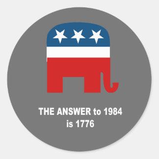 La respuesta a 1984 es 1776 pegatinas redondas