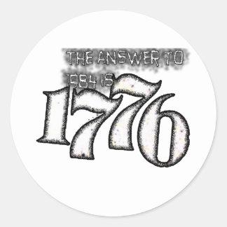 La respuesta a 1984 es 1776 etiqueta redonda