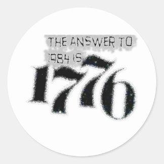 La respuesta a 1984 es 1776 pegatina redonda